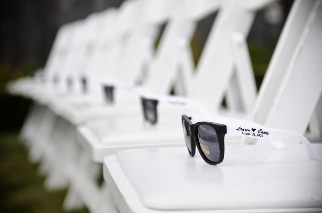 Sunglasses for guest at Outdoor Wedding
