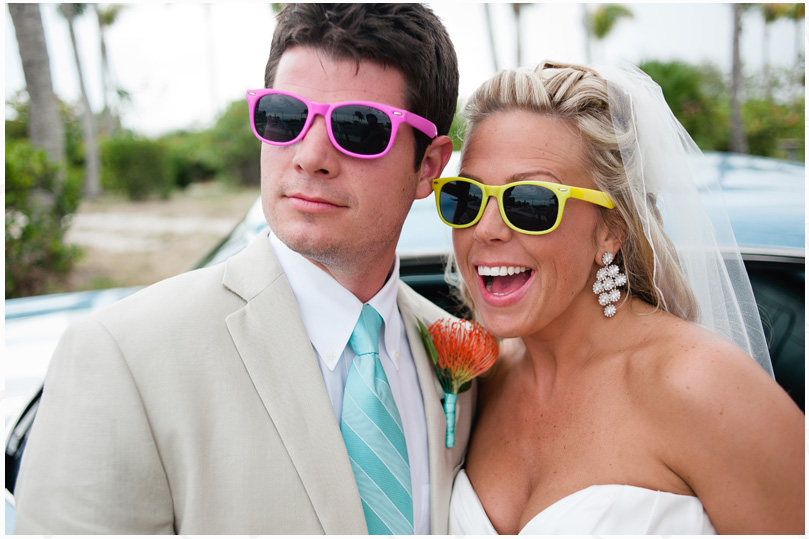 Funky colored sunglasses for the bride and groom