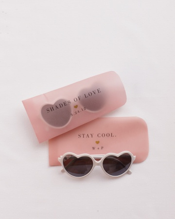 Names printed on sunglasses case